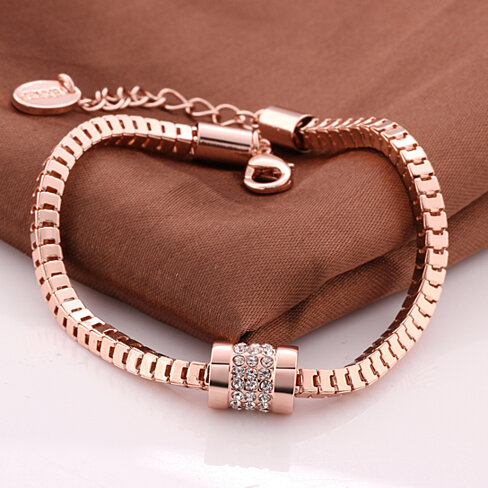 18K Rose Gold Cubed Chain Bracelet with Swarovski Elements