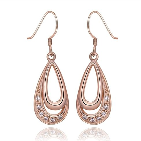 18K Rose Gold Tear Drop Earrings Made with Swarovski Elements