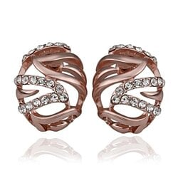 18K Rose Gold Laser Cut Emblem with Crystal Earrings Made with Swarovksi Elements
