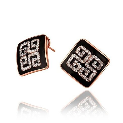 18K Rose Gold Onyx Layering Crystal Design Studs Made with Swarovksi Elements