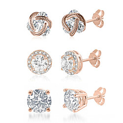 18K Rose Gold Plated Abstract Swarovski Elements Earrings Set