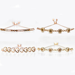 18K Rose Gold Plated Adjustable Bracelet Made with Swarovski Elements