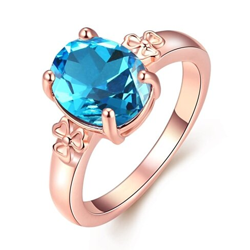 18K Rose Gold Plated Sapphire Flower Ring Size 6