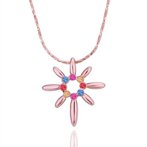 Rose Gold Plated Start Shaped Rainbow Jewels Necklace