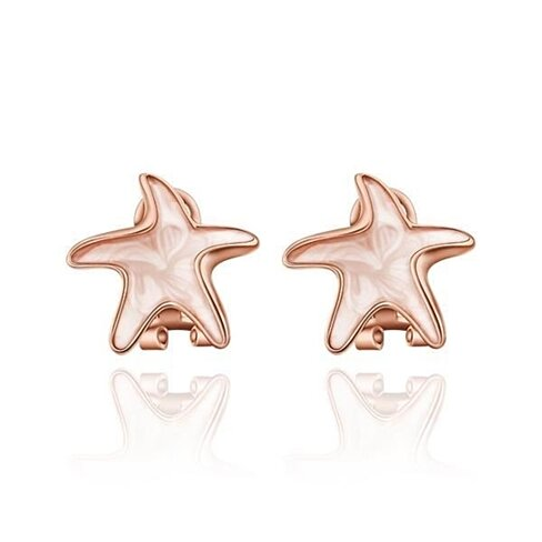 18K Rose Gold Starfish Shaped Stud Earrings Made with Swarovksi Elements