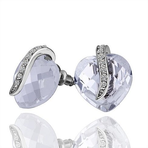 18K White Gold Crystal Jewel Stud Earrings Made with Swarovksi Elements
