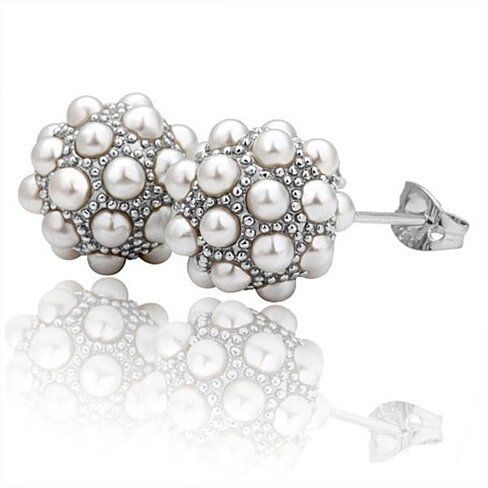 18K White Gold Studded Swarovski Crystal Stud Earrings