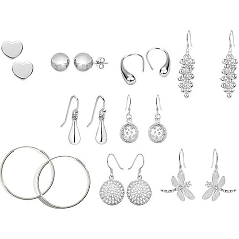 9 Pair Sterling Silver Earring Set + Free Gift Box