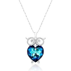 Bermuda Blue Owl Pendant Necklace Set in 18K White Gold