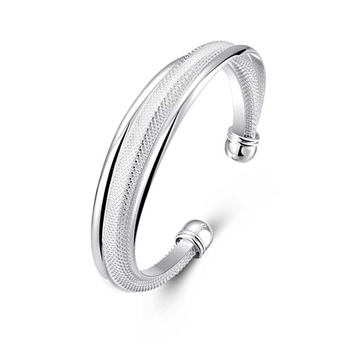 (Buy One Get One Free!) Interlocking Bangle Bracelet in Sterling Silver Plating