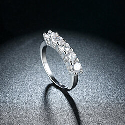 Five Genuine White Stone Baguette Lining Ring Set in 14K White Gold