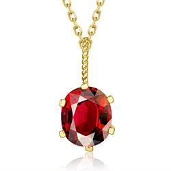 Gold Plated Ruby Gem Dangling Necklace