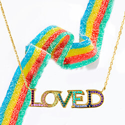 "Rainbow Crystal Pav'e ""Love"" Pendant Necklace Set in 18K Gold"