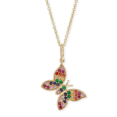86a06f356 Rainbow Pav'e Crystals Flying Butterfly Pendant Set in 14K Gold