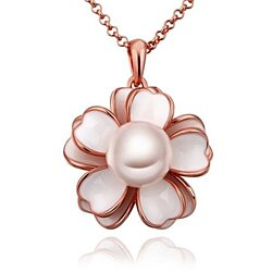 Rose Gold Plated Ivory Floral Pearl Emblem Necklace