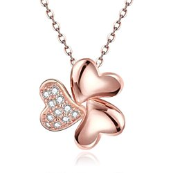 Rose Gold Plated Petite Trio-Clover Necklace