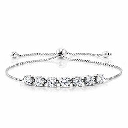 Seven Princess Stone White Crystal Bracelet in 18K White Gold