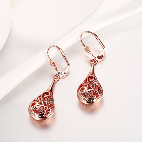 18k Rose Gold Laser Cut Filigree Drop Earrings
