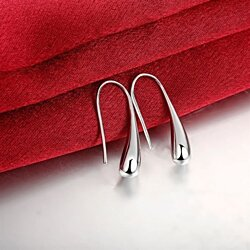 18K White Gold Plated Tear Drop Hook Earrings ITALY