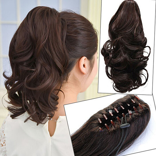 Long Curly Claw Clip Ponytail Hair Extensions Synthetic Hairpieces