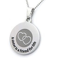 A Sister Is A Friend For Life Pendant Stainless Steel Necklace