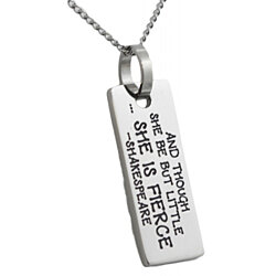 She Is Fierce Shakespeare Pendant
