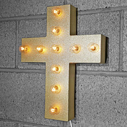 "15"" Battery Operated Metal Church Holy Cross Religious Crucifix Metal Marquee Light Sign - 21 colors!"