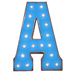 "21"" Letter A - (Plug-In) Rustic Metal Vintage Inspired Marquee Sign Light - 24 Colors."