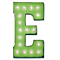 "21"" Letter E - (Plug-In) Rustic Metal Vintage Inspired Marquee Sign Light - 24 Colors."