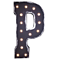 "21"" Letter P - (Plug-In) Rustic Metal Vintage Inspired Marquee Sign Light - 24 Colors."