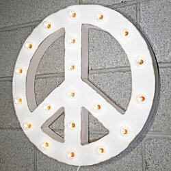 "21"" Peace Symbol Rustic Metal Vintage Inspired Marquee Sign Light - 23 COLORS!"