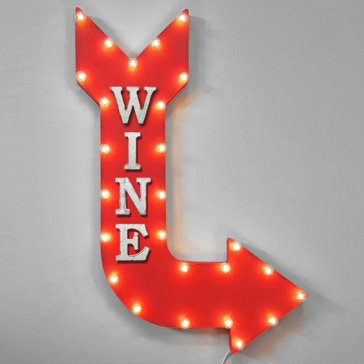Wine Wine Bar Vino Red White Wine Drink Drinks Light Up Restaurant Large Rustic Metal Marquee Sign Arrow - 14 Colors. - Rust, Right Vertical, Plug-In 5a0fa772e224610cc32c07c6