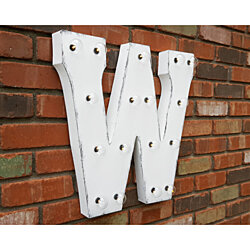 "21"" Letter W. Battery Operated. Choose Rustic or Non-Rustic. 24 Colors. Vintage Style Marquee LED Sign Light. Batteries Included!"