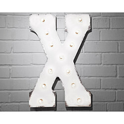 "21"" Letter X. Battery Operated. Choose Rustic or Non-Rustic. 24 Colors. Vintage Style Marquee LED Sign Light. Batteries Included!"