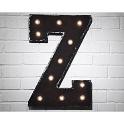 "21"" Letter Z. Battery Operated. Choose Rustic or Non-Rustic. 24 Colors. Vintage Style Marquee LED Sign Light. Batteries Included!"