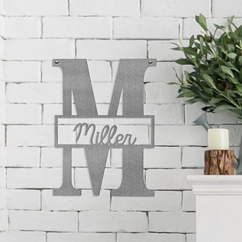 "16"" Metal Letter Monogram + Personalized Script Name"