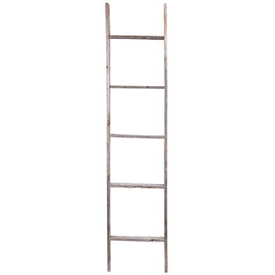 5 Foot Rustic Reclaimed Barn Wood Decorative Ladder