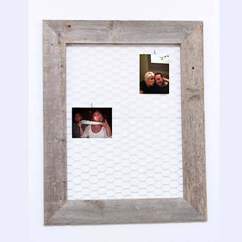 Barn Wood Chicken Wire Message/Photo Board (10 pins included)