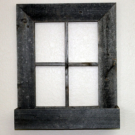 Buy rustic barn wood window frame with flower box by for Wood windows colorado