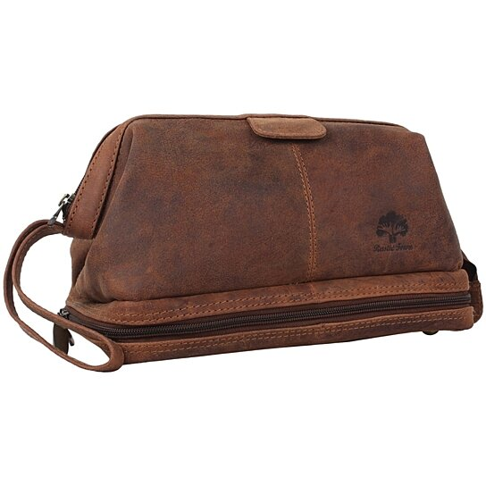 c70ec41d3d0f Buy Rustic Town Handmade Buffalo Genuine Leather Toiletry Bag Shaving Kit  for Travel Hanging Zippered Makeup Bathroom Cosmetic Pouch Case-Brown by  Rustic ...