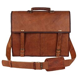Rustic Town Genuine Leather Vintage Crossbody Messenger Satchel Bag Men Women Business Briefcase Carry Laptop Book For Office College School
