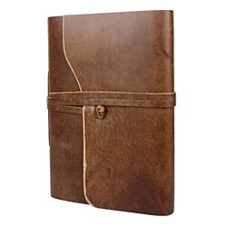Rustic Town Genuine Leather Photo Album with Gift Box - Scrapbook Style Pages