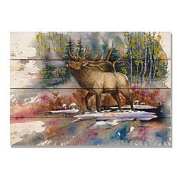 Bartholet's Autumn Music, Elk Watercolor Print on Wood, Wall Hanging Home Decor (DBAM)