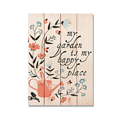 Happy Place, Garden Art Print on Wood, Colorful Wall Art, Gift Ideas (FBHP)