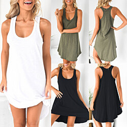 Racer Back Sleeveless Cotton Dress, S-XL