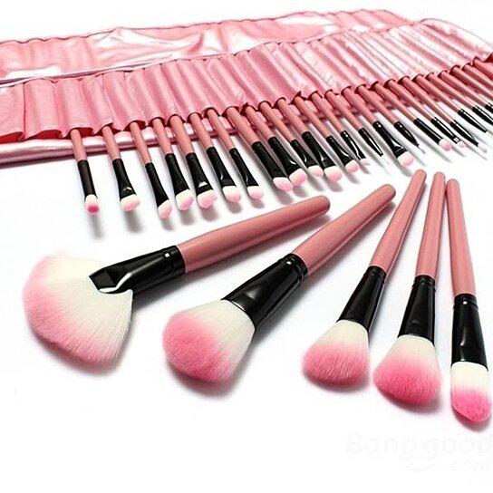 Buy 32 PCS Pink Eyeshadow Eyebrow Blush Makeup Brushes ...