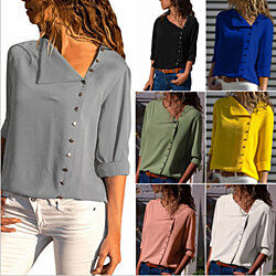 Asymmetrical Side Button Blouse, Mult. Colors, S-2x