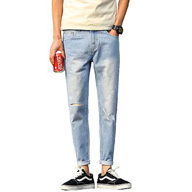 8501526c08f New men s jeans Korean Slim Stretch Pencil feet pants Hole washing Cropped  pants