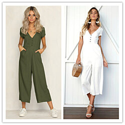 Button-Down Linen Jumpsuit, S-2X