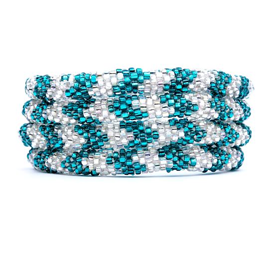 Buy Green And Clear Glass Beaded Bracelet Nepal Bracelet Roll On